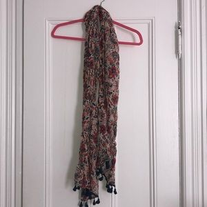 Accessories - American Eagle floral scarf with poms at end